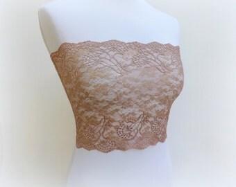 Bronze lace bandeau top. Floral lace strapless. Copper strapless. Golden top. Lace lingerie. Bronze lingerie.