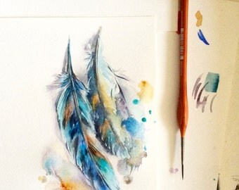 Feathers ORIGINAL Watercolor Painting, Turquoise Feathers Illustration, Aquarelle Art