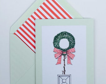 Wreath Topiary Christmas Cards  Box of 8 with matching, lined envelopes.