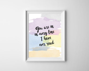 Printable Quote Romantic Pastel Watercolor Wall Art Love Saying Home Decor