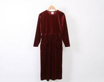 Red VELVET Minimalist 90s Womens AU 12 US 8 Burgundy Long Sleeve Vintage Maxi Maroon Polyester Soft Grunge Winter Made In Usa Dress