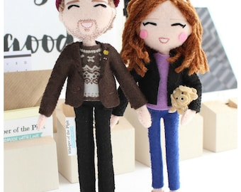 Selfie Doll with Closed Smiling Eyes. Personalised art dolls. Anniversary gift ideas. Gift for couples. Boyfriend, girlfriend gift idea.