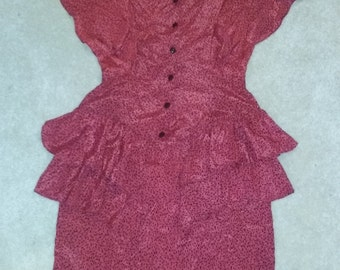 Vintage Red Ruffles Dress 90s