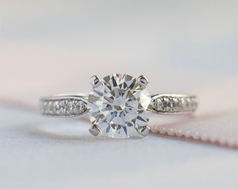 Art Deco Engagement Ring - Round Cut Engagement Ring - Wedding Ring - Solitaire Ring - Cubic Zirconia Ring - Sterilng Silver Ring