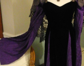 Maleficent inspired costume, dress, cosplay, upcycled, black velvet, purple, size xs, witch, priestess, queen dress