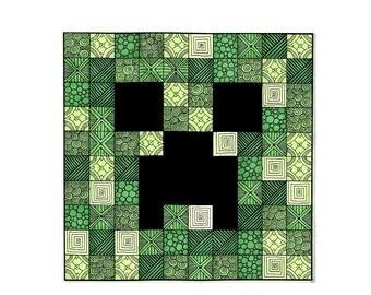 Zentangle of Creeper, Minecraft, Kid Gift