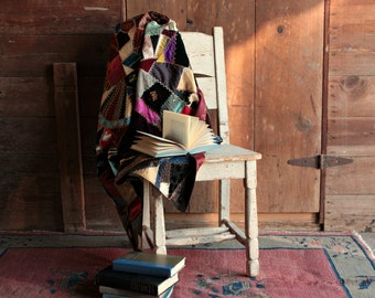 Vintage 1800s Quilt, Silk Crazy Quilt, Victorian Quilt, Vintage Crazy Quilt, Hand Tied Quilt, Patchwork Quilt, Antique Quilt, Homemade Quilt
