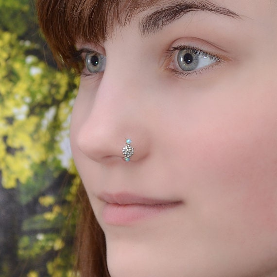 Nose Ring - Silver Nose Hoop - 2mm Blue Opal Helix Earring - Rook Piercing Jewelry - Septum Ring - Tragus Hoop - Cartilage Piercing - 20g
