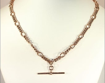 Antique Rose Gold Watch Chain with T Bar, Hallmarked English c. 1910