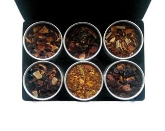 CAFFEINE FREE Teas, SALE 15% off, organic tea kit, healthy teas, tea lover, tea sampler, mom gift, flavored teas, loose leaf teas, gift box.