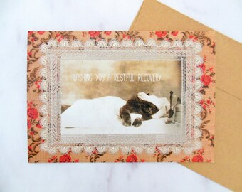 sick kitty card | 5x7 get well greeting antique cat card | blank inside | 1915 Harry Whittier Frees photo