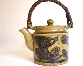 Vintage Stoneware Teapot with Wicker Handle