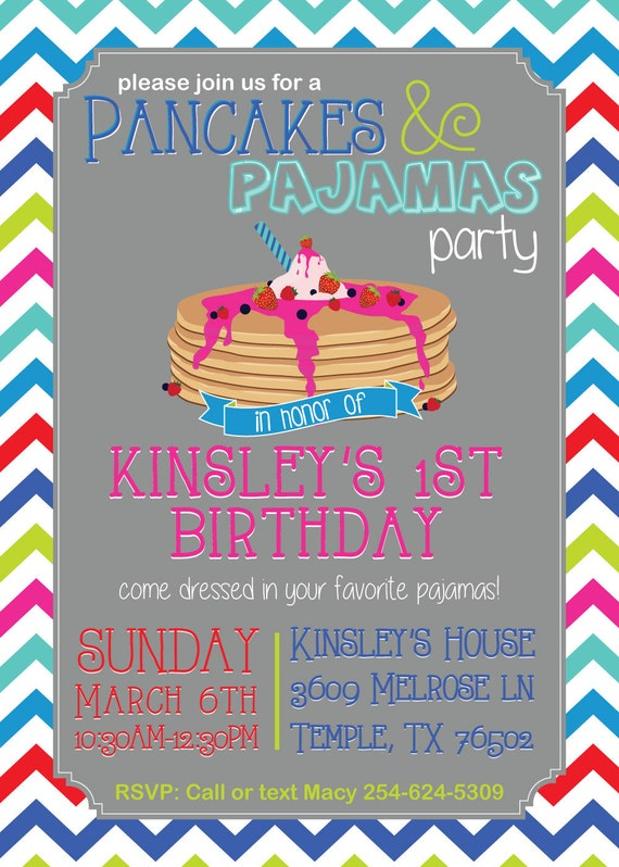 Pancake and Pajamas party birthday invitation (LET US PRINT them)