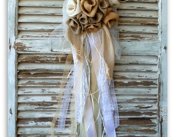 Shabby Chic decor, Church Pew Decoration, Cottage Chic home decor, Burlap flowers bouquet, hanging wedding car decoration , Door decor