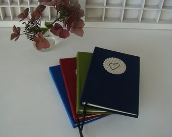 Suedine notebook with cover-heart-notebook line-solid cover