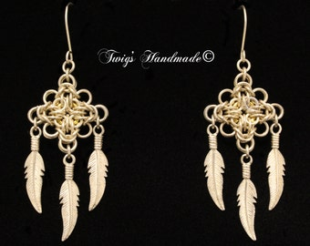 Sterling silver chainmaille Earrings with sterling silver feathers