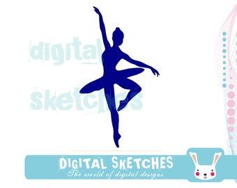 Ballerina Machine Embroidery Design 3 Sizes