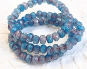 Czech Artisan 3 x 5 mm Faceted Fire Polish Rondelle Two Tone Glass Beads - Blue Opal and Rose Opal with Copper  Edges - 30