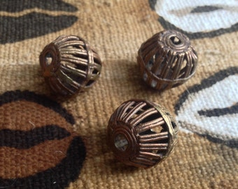 African Cast Brass Beads - 23 mm (7/8 Inch) - Set of 3