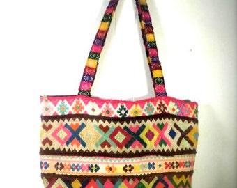 PERUVIAN PURSE: Fair Trade! Upcycled! Hand woven Peruvian wool boho chic bag