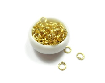 100 Pieces 4mm 24K Gold Plated Brass Jump Rings, Open JumpRing Connector - RFG022