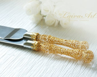 Gold  Wedding  Cake Server Set & Knife  Gold wedding