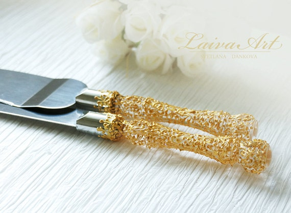 gold wedding cake server set knife gold wedding. Black Bedroom Furniture Sets. Home Design Ideas