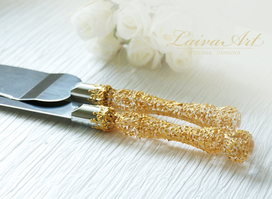 gold wedding cake server set knife gold wedding
