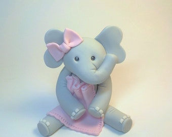 Fondant Elephant with Pink Blanket and Bow 1st Birthday Baby Shower Lt. Blue  Lt. Pink  or Custom Color Option
