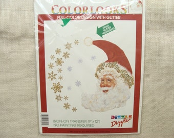 Christmas Santa Claus crescent moon-shaped iron-on - vintage Dizzler Xmas transfer - for clothes, bags, ugly sweaters - rustic, primitive
