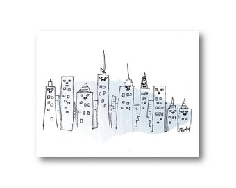 NYC greeting card, Statue of Liberty, New York skyline card, Funny NY art, New York buildings