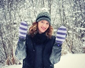 Purple Mittens, Wool Mittens, Sweater Mittens for Women, Stripes Warm Fleece Lined Fun Patchwork Hippie Boho Bright