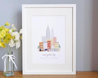 Personalised New York City Print - Personalised New York Print - Personalized City Print - New York City Print - City Prints - Housewarming