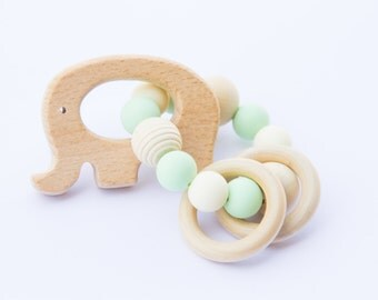 Wooden teether - wooden silicone teether - wooden rattle - baby gift - natural baby toy - teething toy - elephant teether