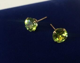 10K Yellow Gold Peridot Studs