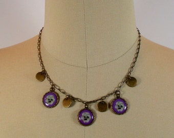 Purple pansy flower charm necklace in antique gold