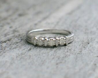 10K Vintage Stackable Diamond Ring Wedding Band