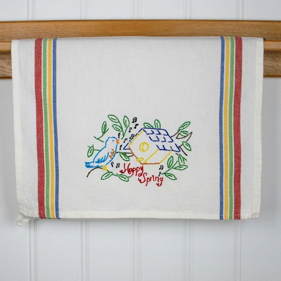 Hand Embroidered Tea Towel Kitchen Towel Embroidered Dish
