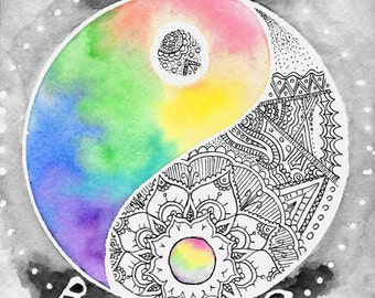 Zentangle mandalas etsy for Decoration murale yin yang
