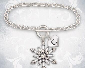 Custom Initial Snowflake Bracelet - 55760