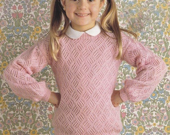 Vintage knitting pattern girl's lacy look sweater  pdf INSTANT download pattern only pdf girls