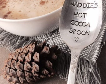 Personalized hot cocoa spoon hand stamped vintage spoon created by The Paper Spoon - hot cocoa spoon, hot chocolate gift,stocking stuffer