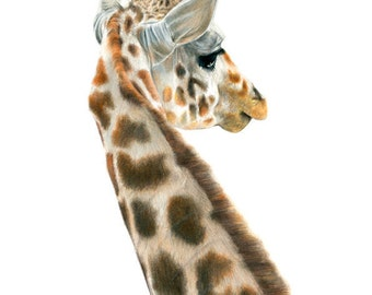 giraffe - art print - animal art - nursery art - A3