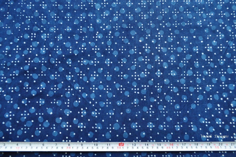 Polka Dot Indigo Mudcloth Block Print Fabric By The Yard