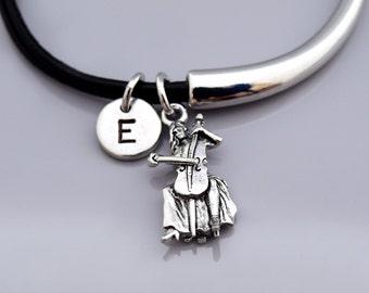 Cello bangle, cello player, cellist, string instrument, Music charm, Musician, Leather bracelet, Leather bangle, Initial bracelet