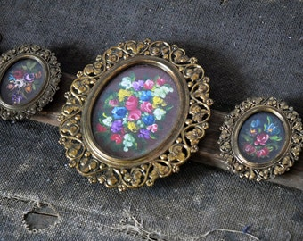 Set of 3 Brass Frames with Handpainted FlowerBunch - Made in Italy - Victorian/Shabby Decor