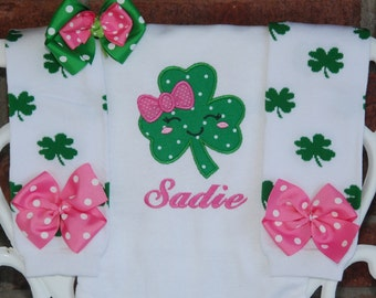 Girls St. Patrick's Day Outfit! Girls Shamrock Applique with Personalized name, green clover leg warmers, and matching hair bow