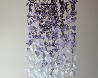 Butterfly Nursery Mobile - Best Selling Purple Ombre Chandelier Butterfly Mobile - Butterfly Mobile - Crib Mobile - Nursery Decor -  Gift
