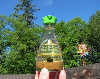 Gift for Foodie - Marimo Terrarium in Kikkoman Soy Sauce Bottle - Japanese Moss Ball in Upcycled Shoyu Dispenser - Less Salt Shoyu Terrarium