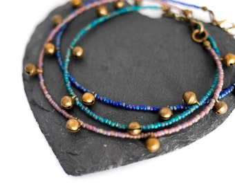 Toho Bell Anklet; boho, hippie, yoga, gifts for her, jingle, gypsy, music, blue, turquoise, lilac, purple, turquoise, summer, festival, july